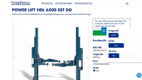 nussbaumlifts screenshot product DE