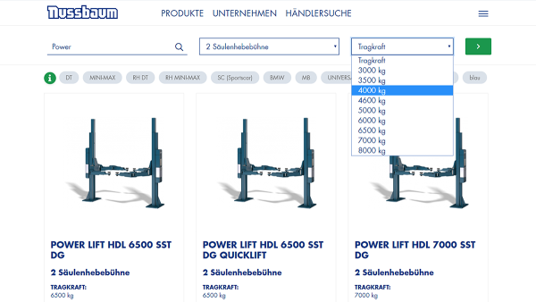nussbaumlifts screenshot productfinder DE 2