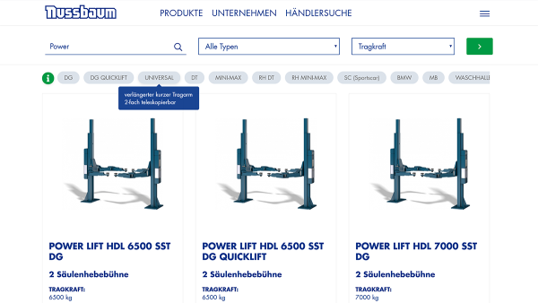 nussbaumlifts screenshot productfinder DE